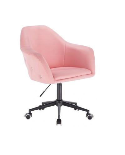 Różowy fotel BLINK ZET - czarna podstawa kółka