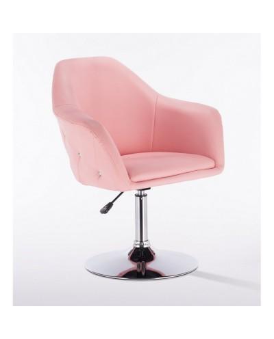 Krzesło tapicerowane BLINK ZET różowe - chromowany dysk