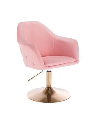 Krzesło różowe BLINK ZET obrotowe z regulacją - złoty dysk