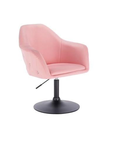Różowy wygodny fotel BLINK ZET obrotowy - dysk czarny