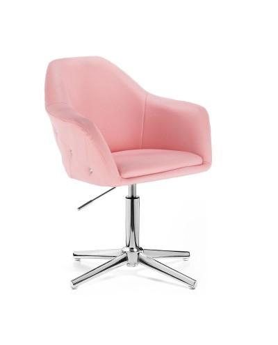 Fotel różowy BLINK ZET salon glamour - krzyżak chromowany