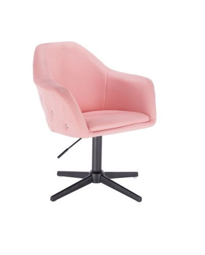 Fotel BLINK ZET różowy do pokoju - czarny krzyżak