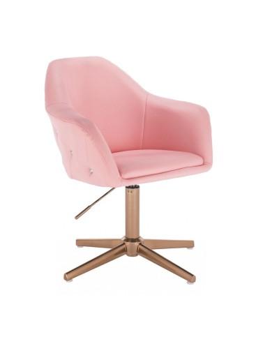 Uroczy fotel BLINK ZET różowy - złoty krzyżak