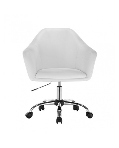Biały fotel na kółkach BLINK ZET - chromowana podstawa kółka