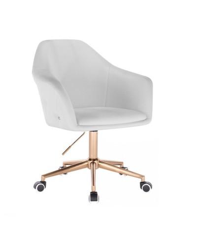 Białe krzesło BLINK ZET na kółkach - złoty