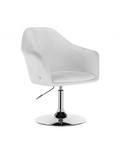 Krzesło tapicerowane BLINK ZET białe - chromowany dysk