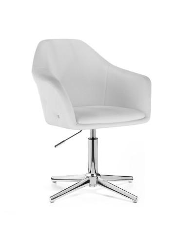 Fotel biały BLINK ZET salon glamour - krzyżak chromowany