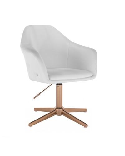 Uroczy fotel dla dziewczynki BLINK ZET biały - złoty krzyżak
