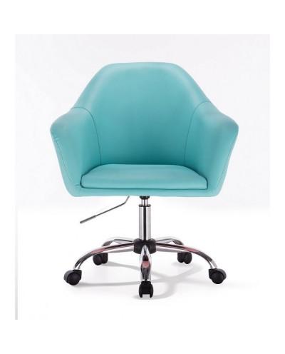Fotel na kółkach BLINK ZET turkusowy - chromowana podstawa kółka
