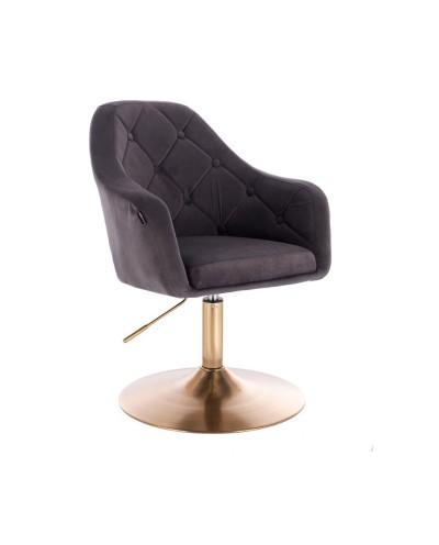 Fotel welurowy BLERM grafitowy - złoty dysk