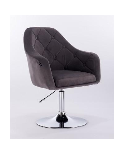 Krzesło tapicerowane welurem BLERM grafitowe - chromowany dysk
