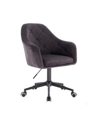Krzesło welurowe BLERM grafitowe - czarna podstawa kółka