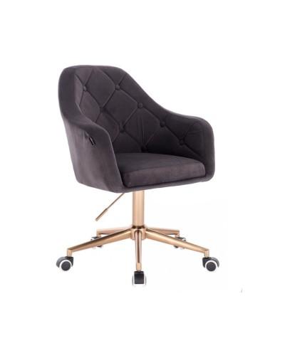Krzesło welur na kółkach BLERM grafitowe - złota podstawa kółka