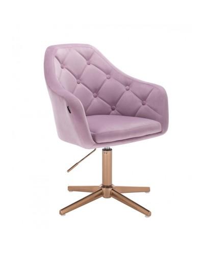 Krzesło welurowe BLERM wrzosowe - złoty krzyżak