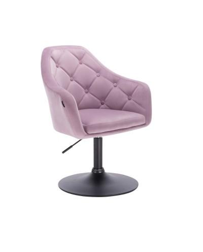 Tapicerowany fotel welur BLERM wrzosowy - czarny dysk