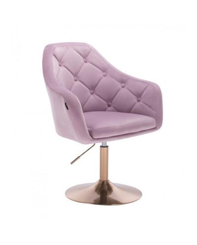 Fotel do salonu welur BLERM wrzosowy - złoty dysk