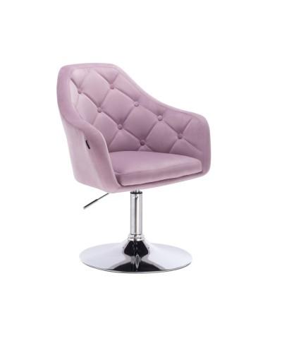 Krzesło tapicerowane welur BLERM wrzosowe - chromowany dysk