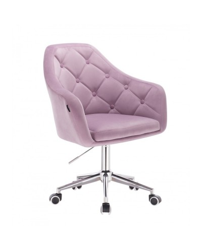 Krzesło BLERM welur wrzosowy - chromowana podstawa kółka