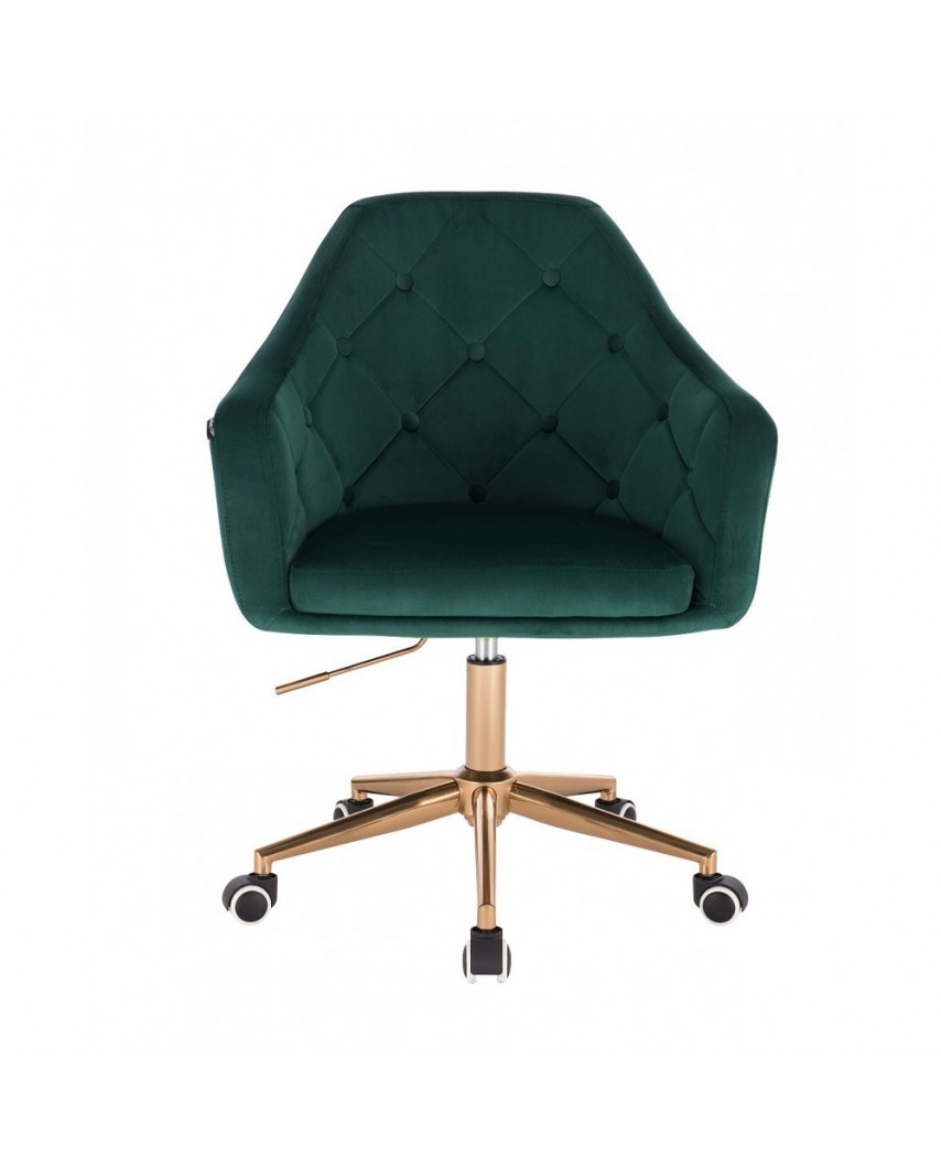 Krzesło welur na kółkach BLERM butelkowa zieleń - złota podstawa kółka
