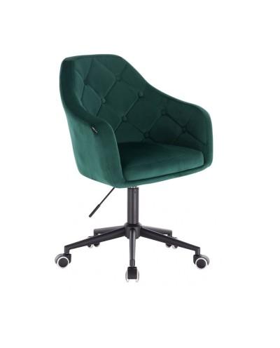 Krzesło biurowe welurowe BLERM butelkowa zieleń - czarna podstawa kółka