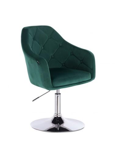 Krzesło tapicerowane welurem BLERM butelkowa zieleń - chromowany dysk