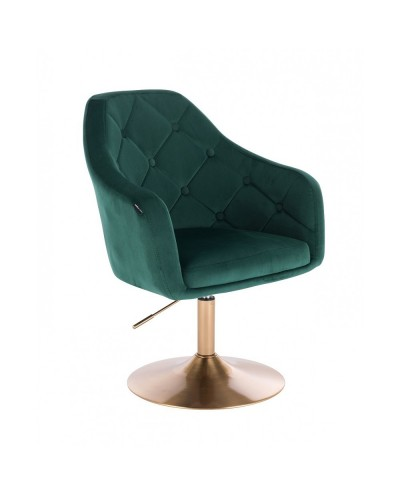 Fotel welurowy BLERM butelkowa zieleń - złoty dysk