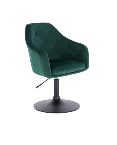 Fotel tapicerowany welurem BLERM butelkowa zieleń - czarny dysk