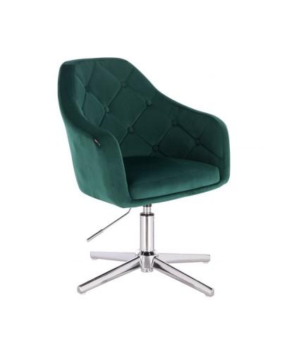 Elegancki tapicerowany fotel BLERM butelkowa zieleń - krzyżak chromowany