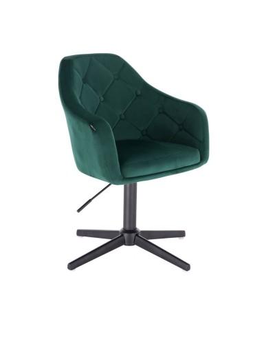 Fotel welur BLERM butelkowa zieleń - czarny krzyżak