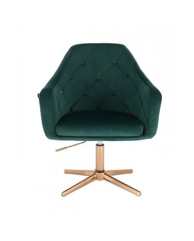 Krzesło welurowe BLERM butelkowa zieleń - złoty krzyżak