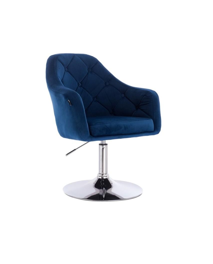 Krzesło tapicerowane welurem BLERM ciemne morze - chromowany dysk