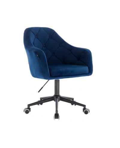 Krzesło biurowe welurowe BLERM ciemne morze - czarna podstawa kółka