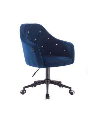 BLERM CRISTAL Krzesło biurowe welurowe ciemne morze - czarna podstawa kółka