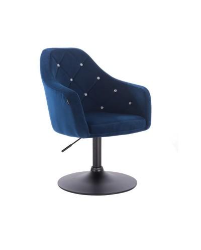 BLERM CRISTAL Fotel tapicerowany welurem ciemne morze - czarny dysk