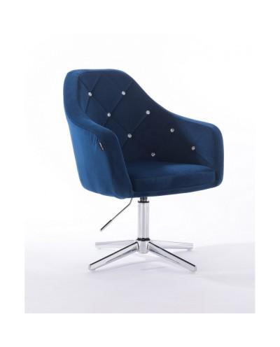 BLERM CRISTAL Elegancki tapicerowany fotel ciemne morze - krzyżak chromowany