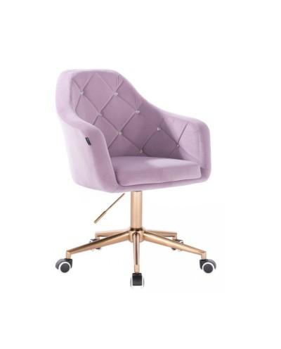 BLERM CRISTAL Krzesło welur na kółkach wrzos - złota podstawa kółka