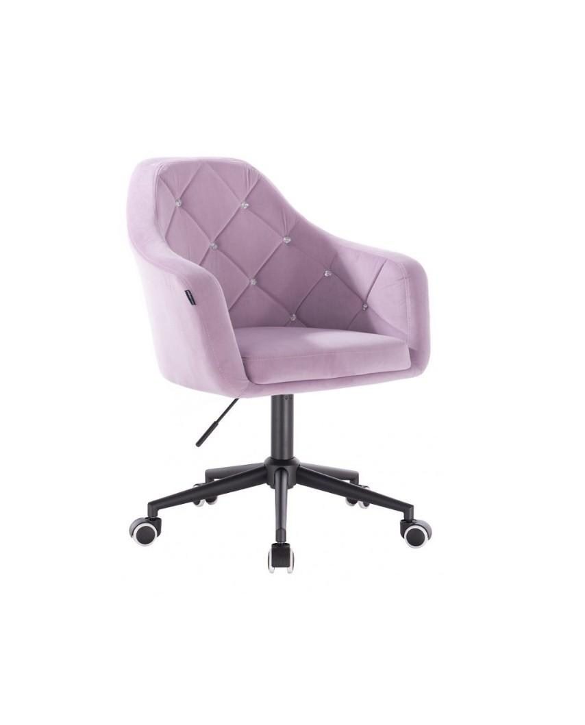 BLERM CRISTAL Krzesło biurowe welurowe wrzos - czarna podstawa kółka