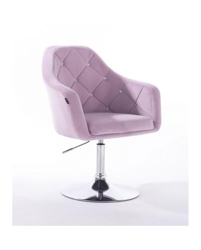 BLERM CRISTAL Krzesło tapicerowane welur wrzos - chromowany dysk