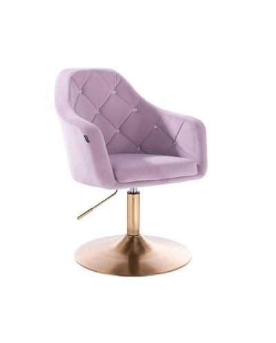 BLERM CRISTAL Fotel welurowy do salonu wrzos - złoty dysk