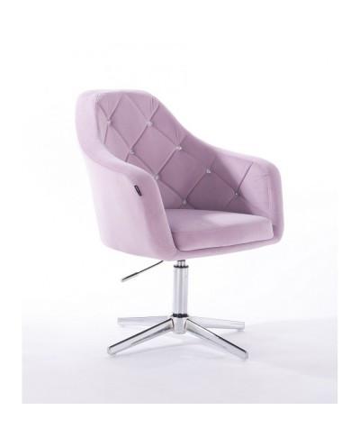 BLERM CRISTAL Elegancki tapicerowany fotel wrzos - krzyżak chromowany