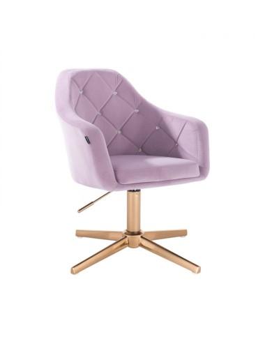 BLERM CRISTAL Krzesło welur wrzos - złoty krzyżak