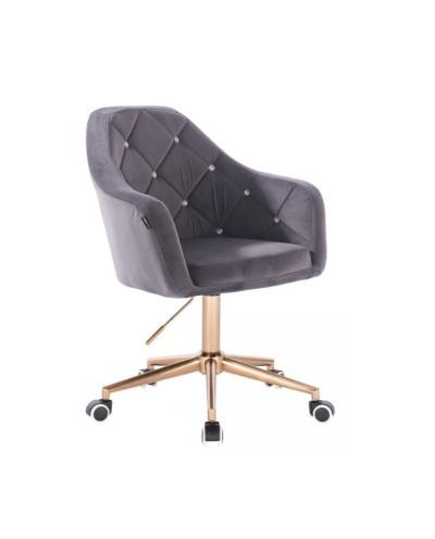 BLERM CRISTAL Krzesło welur na kółkach grafit - złota podstawa kółka