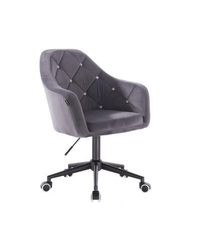 BLERM CRISTAL Krzesło welurowe grafit - czarna podstawa kółka