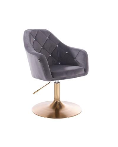 BLERM CRISTAL Fotel welurowy grafit - złoty dysk