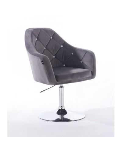 BLERM CRISTAL Krzesło tapicerowane welurem grafit - chromowany dysk