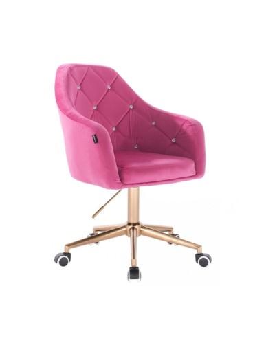 BLERM CRISTAL Krzesło welur na kółkach malina - złota podstawa kółka