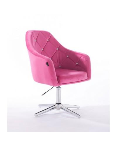 BLERM CRISTAL Elegancki tapicerowany fotel malina - krzyżak chromowany