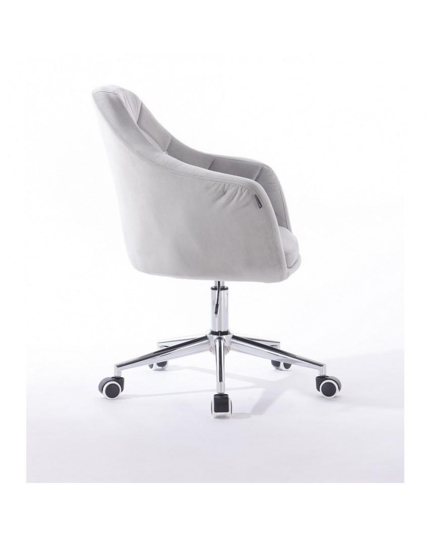 BLERM CRISTAL Fotel na kółkach welur stalowy - chromowana podstawa kółka