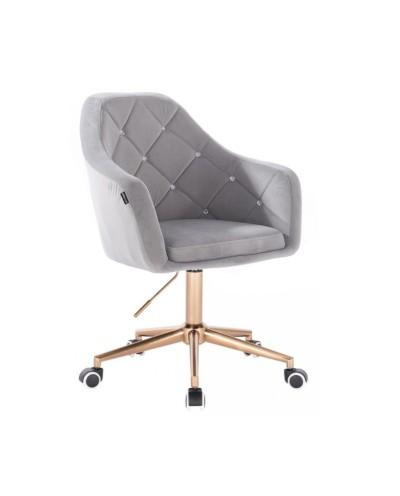 BLERM CRISTAL Krzesło na kółkach welur stalowy - złota podstawa kółka