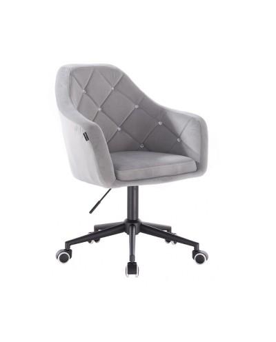 BLERM CRISTAL Krzesło welur stalowy - czarna podstawa kółka